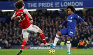 Chelsea's Willian (right) comes face to face with David Luiz.