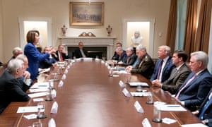 The now iconic photo of Nancy Pelosi and Donald Trump in the White House cabinet room in Washington DC on Thursday.