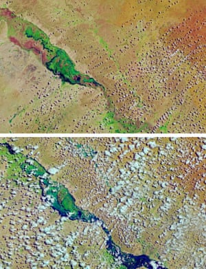 Aerial images of flooding in Somalia in 2015 and 2018