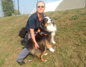 Genoa police officer Laura Bisio with police dog Night Spirit, who helped rescue survivors of the Morandi bridge collapse