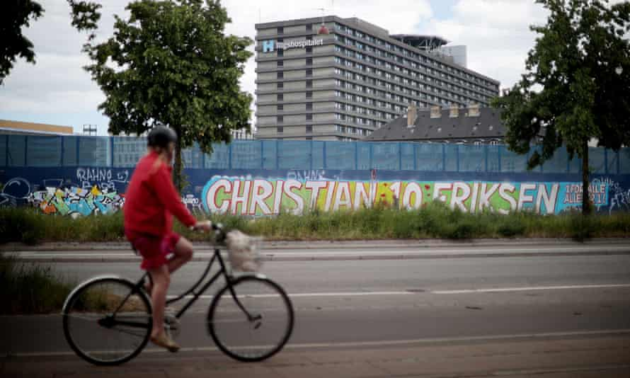 A mural dedicated to Christian Eriksen close to the hospital where the Denmark midfielder is being treated.