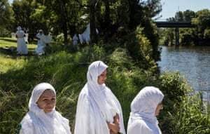 Mandaean faithful gather on the banks of the Georges River in south-western Sydney.