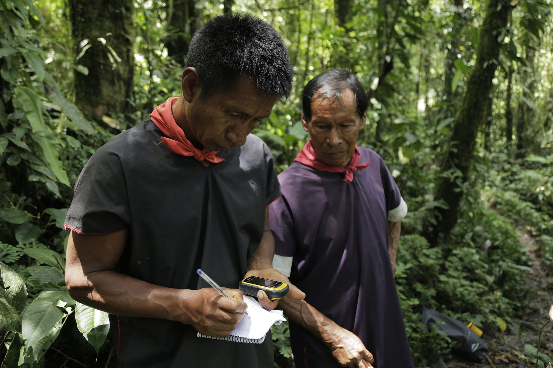 Members of Sinangoe's guardia indigena have been using GPS to monitor miners and others invading their land. Photograph: Jeronimo Zuniga/Amazon Frontlines