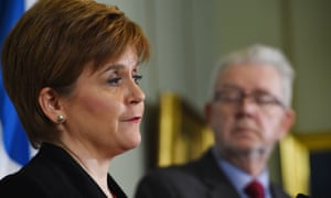 Nicola Sturgeon and Scotland's Brexit minister Michael Russell holding a joint press conference in Edinburgh today.