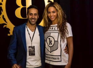Hussain seen with Beyoncé in a photo from his Facebook page.