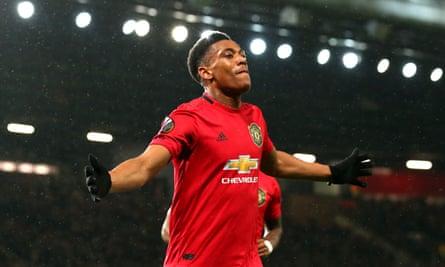 Anthony Martial celebrates scoring Manchester United's second.