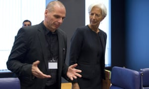 Varoufakis with Christine Lagarde of the IMF during a meeting of Eurozone finance ministers in June 2015.