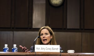 Amy Coney Barrett on Wednesday. Barrett's confirmation is all but assured despite Democrats' forceful opposition.