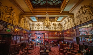 The interior of the Philharmonic Dining Rooms. Built in 1898, the pub aimed to reflect the wealth and ambition of the Age of Empire.
