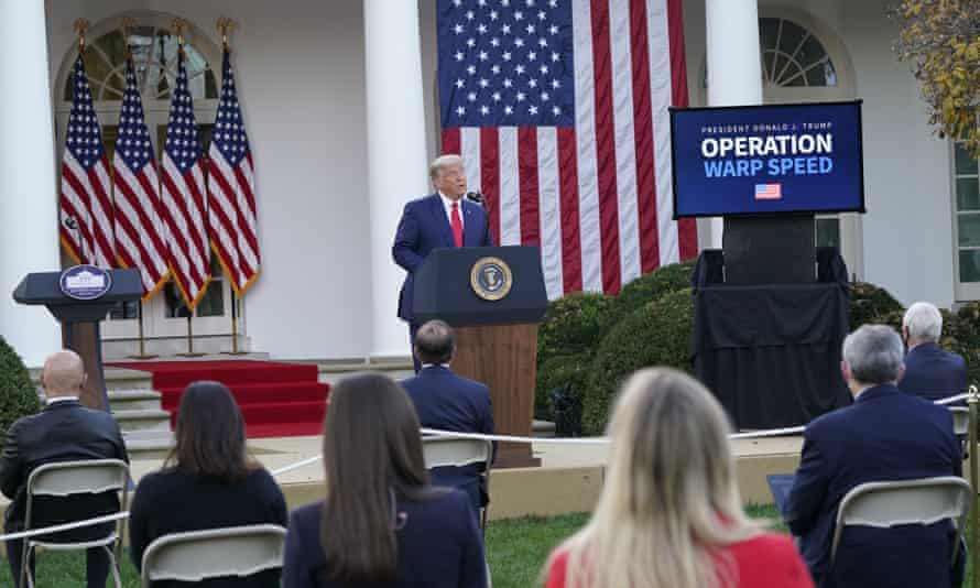 Donald Trump at an Operation Warp Speed briefing in November. The extent to which the decision not to acquire more of the Pfizer/BioNTech vaccine could impede the vaccination effort in the United States was unclear.