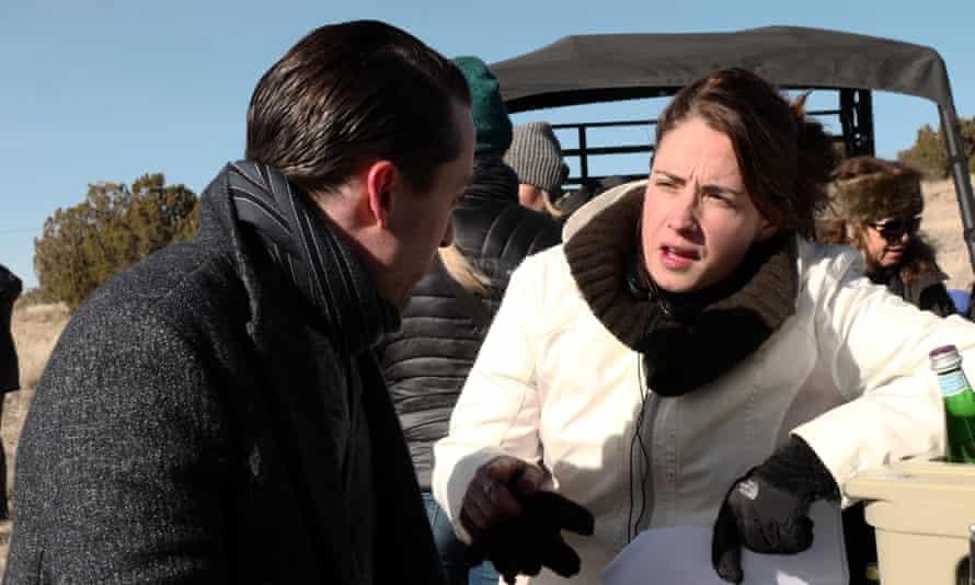 Writer/producer Lucy Prebble & Kieran Culkin, who plays Roman, on the of set Succesion, season one.