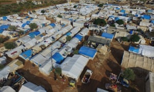 Aerial view of the Kefernahum refugee camp in north-eastern Idlib, Syria.