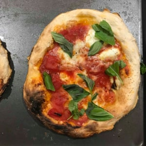 Twenty-four hours is sufficient to produce a dough for this, Pizza Pilgrim's pizza.