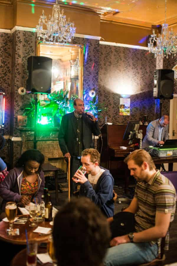 Karaoke night at the Golden Lion.