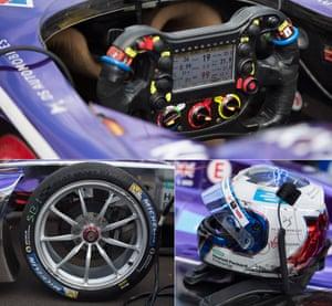 Detail shots of Sam Bird's DS Virgin DSV-02 car showing the inside of his cockpit, front wheel and helmet