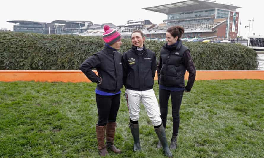 """Bryony Frost (centre), laughed off one reporter's misguided concern, saying """"getting in the car is the most dangerous part""""."""