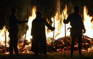 A burning ceremonial Viking long boat in Hampshire, England