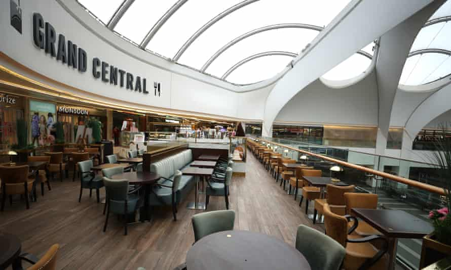 An empty restaurant in the Bullring and Grand Central shopping centre in Birmingham.