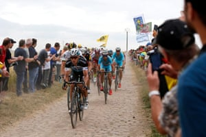 <strong>Stage Four</strong><br>Stage Location: Seraing, Belgium and Cambrai, France<br>Stage Winner: Tony Martin<br>Etixx Quick Step's Tony Martin leads the pack on the cobbles