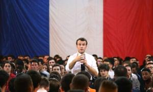 Emmanuel Macron speaks during an event in Etang-sur-Arroux