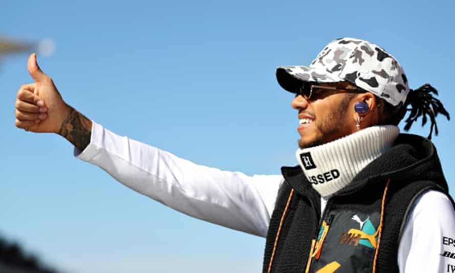Lewis Hamilton acknowledges the fans at the US grand prix.
