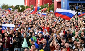 The Russian fans in the fan zone are enjoying this ...