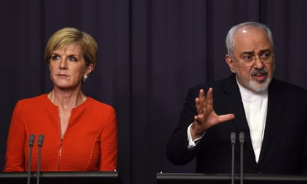 The Australian foreign affairs minister, Julie Bishop, with her Iranian counterpart, Mohammad Javad Zarif, in Canberra on Tuesday. Zarif says Iran will not take back asylum seekers who have been forcibly returned.
