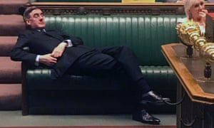 Leader of the House of Commons Jacob Rees-Mogg relaxes on the front benches during the Standing Order 24 emergency debate on a no-deal Brexit in the House of Commons in London on September 3, 2019.