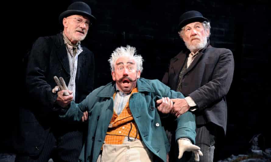 Patrick Stewart (Vladimir), Simon Callow (Pozzo) and Ian McKellen (Estragon) in Waiting for Godot at the Theatre Royal Haymarket, London, 2009.