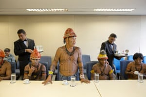 A protest led by leaders of the Munduruku people in Brasilia in 2016, to demand the demarcation of the Sawré Muybu indigenous land on the Tapajós river in the Amazon