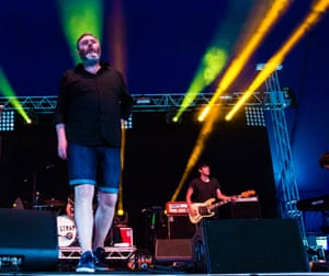 Aidan Moffat of Arab Strap on the Crack stage at Field Day.