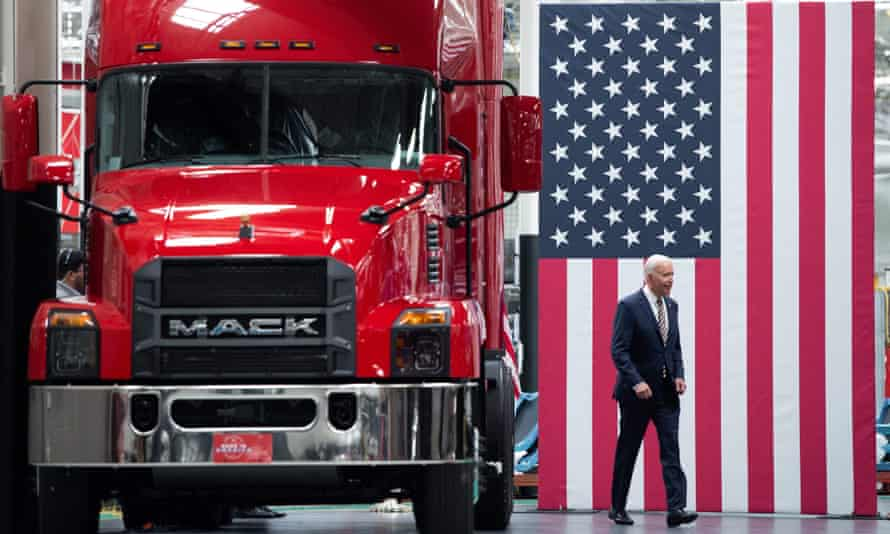 Joe Biden arrives to speak about manufacturing after touring the Mack truck factory in Macungie, Pennsylvania