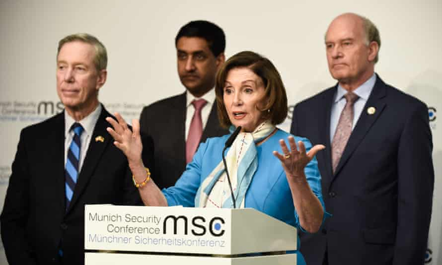 Nancy Pelosi with members of the US delegation
