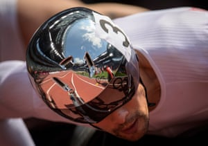 Reflections in the helmet of Marcel Hug of Switzerland at the start of his T54 1500m heat – he went on to finish first in a new Games record.