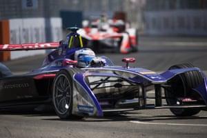 Sam Bird leads Mahindra Racing drivers Felix Rosenqvist and Nick Heidfeld