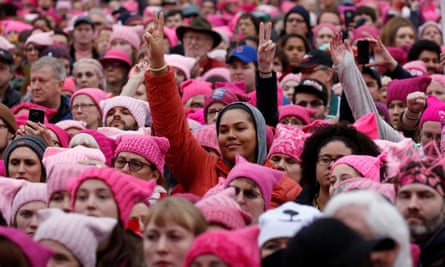 People gather for the Women's March in Washington in January 2017.