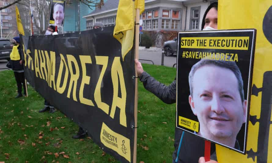 Amnesty activists protest in Brussels close to the Iranian embassy on Monday against the death sentence of Swedish-Iranian scientist Ahmadreza Djalali