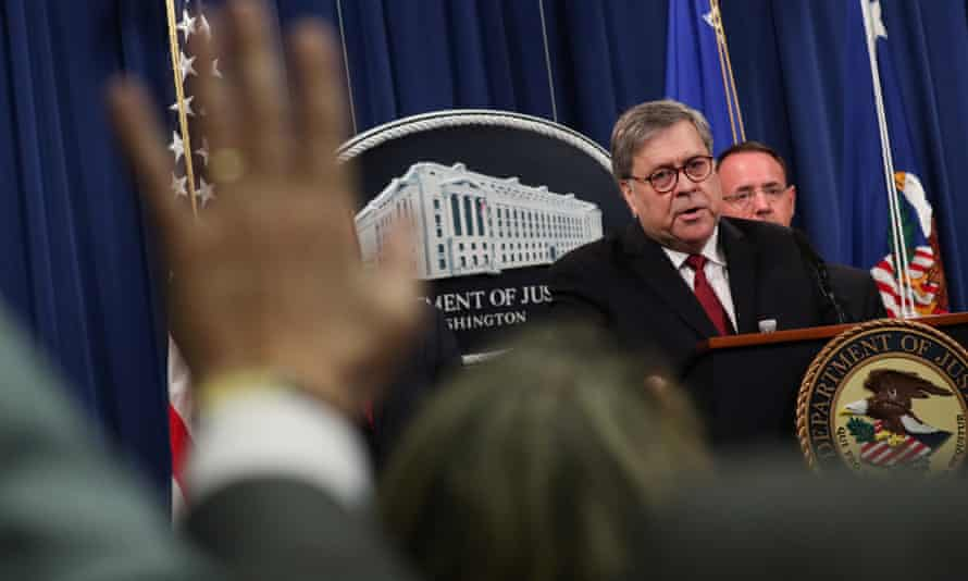 William Barr speaks at a press conference on the Mueller report's release.