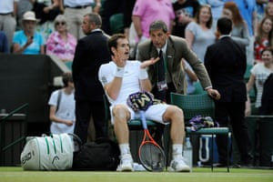 2013: Murray argues with the referee during his semi-final win over Jerzy Janowicz on Centre Court