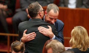 New Tasmanian Greens senator Nick McKim is congratulated by Greens leader Richard Di Natalie after making his first speech in the senate chamber of Parliament House Canberra this afternoon, Wednesday 9th September 2015.