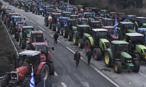 Greek farmers keep up their blockade for a fourth day at the Greek-Macedonian border on 2 February.