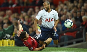 Ander Herrera struggled to contain Tottenham's excellent Lucas Moura and was booked for a foul on him and later substituted.