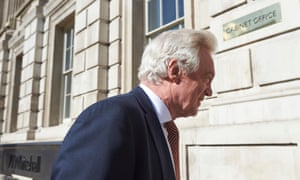 David Davis, the new Brexit secretary, arriving for work at the Cabinet Office this morning. He is going to head a new department, but it has not got a permanent home yet.