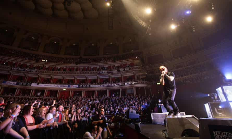 Ed Sheeran performing on stage during the Teenage Cancer Trust series of charity gigs, at the Royal Albert Hall, in London.
