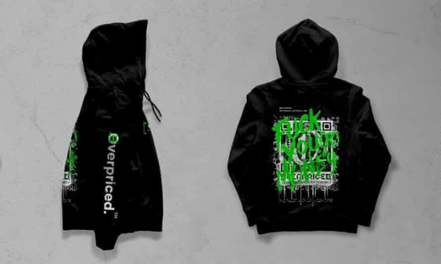 The Overpriced hoodie with expletive laden logo in neon green