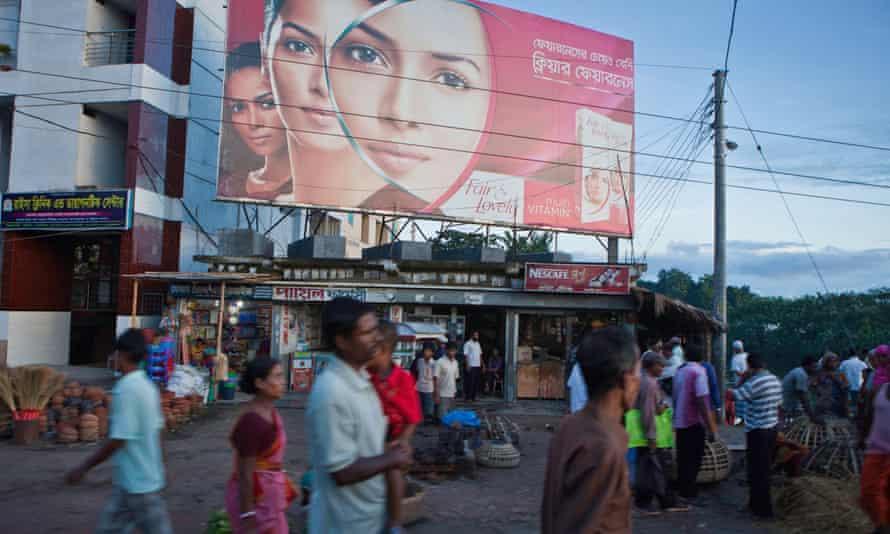 A billboard advertises skin-lightening cream in Bangladesh.