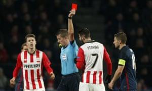 Gastón Pereiro of PSV Eindhoven is sent off