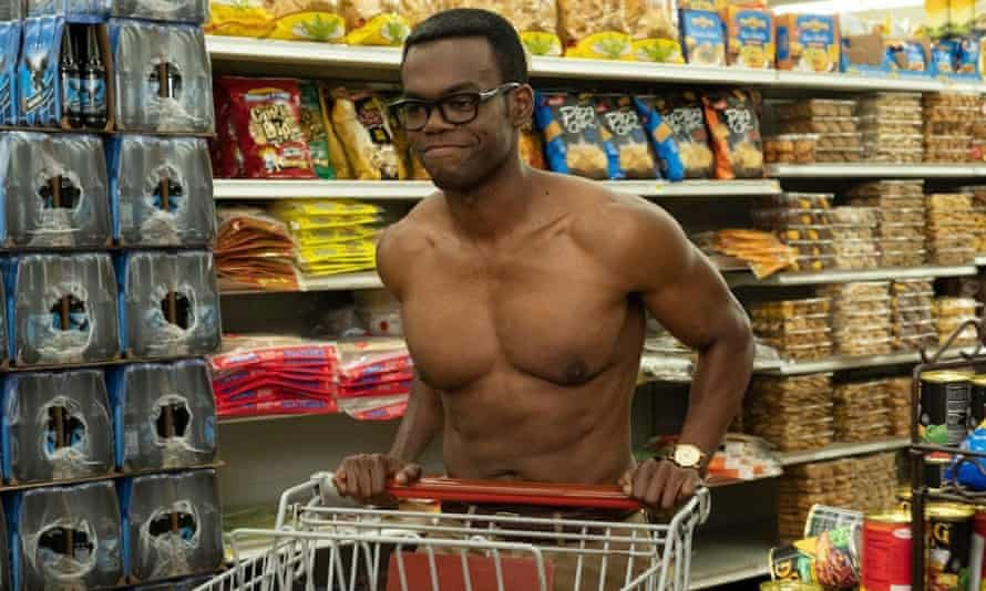 Stacked actor: swole Harper in The Good Place.
