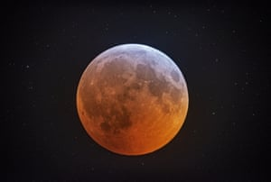 Photographed through a 12-1/2 inch telescope, the totally eclipsed moon glows against the background stars over Stedman, North Carolina, US