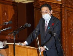 Japan's prime minister Fumio Kishida in parliament yesterday.
